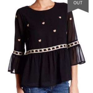 🆕️HARLOWE & GRAHAM Embroidered Bell Peplum Top